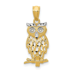 14k Yellow Gold and White Rhodium Two Tone Owl Pendant - The Black Bow Jewelry Co.
