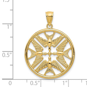 Alternate view of the 14k Yellow Gold Doves Circle Pendant, 22mm by The Black Bow Jewelry Co.