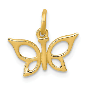 14k Yellow Gold Polished Butterfly Charm, 13mm - The Black Bow Jewelry Co.