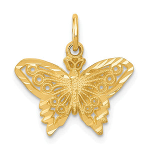 14k Yellow Gold Satin and Diamond Cut Butterfly Charm, 17mm - The Black Bow Jewelry Co.