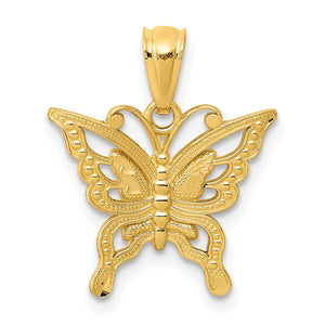 14k Yellow Gold Diamond Cut Butterfly Pendant, 15mm - The Black Bow Jewelry Co.