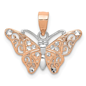 14k Rose Gold and White Rhodium Diamond Cut Butterfly Pendant, 18mm - The Black Bow Jewelry Co.