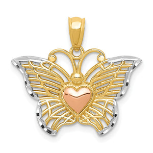 14k Yellow & Rose Gold with White Rhodium 22mm Butterfly Heart Pendant - The Black Bow Jewelry Co.