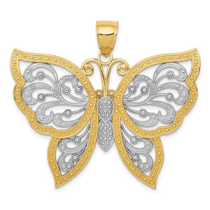 14k Yellow Gold & White Rhodium 42mm Filigree Butterfly Pendant - The Black Bow Jewelry Co.