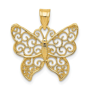 14k Yellow Gold Textured Filigree Butterfly Pendant, 20mm - The Black Bow Jewelry Co.