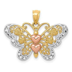 14k Yellow & Rose Gold with White Rhodium 25mm Heart Butterfly Pendant - The Black Bow Jewelry Co.