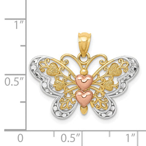 Alternate view of the 14k Yellow & Rose Gold with White Rhodium 25mm Heart Butterfly Pendant by The Black Bow Jewelry Co.