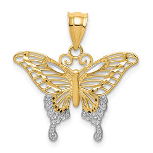 14k Yellow Gold & White Rhodium 22mm Diamond Cut Butterfly Pendant - The Black Bow Jewelry Co.