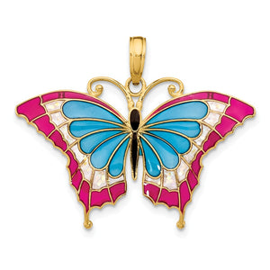 14k Yellow Gold & Blue Translucent Acrylic Butterfly Pendant, 30mm - The Black Bow Jewelry Co.