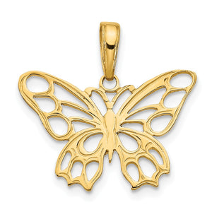 14k Yellow Gold Cutout Butterfly Flat Back Pendant, 20mm - The Black Bow Jewelry Co.