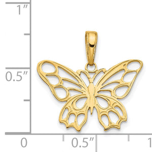 14k Yellow Gold Cutout Butterfly Flat Back Pendant, 20mm