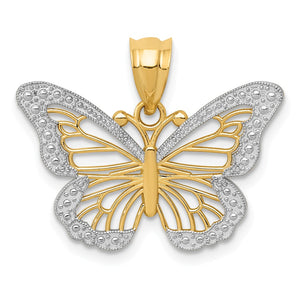 14k Yellow Gold & White Rhodium Fancy Butterfly Pendant, 23mm - The Black Bow Jewelry Co.