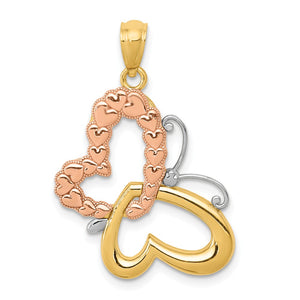 14k Yellow & Rose Gold w/ White Rhodium 22mm Heart Butterfly Pendant - The Black Bow Jewelry Co.