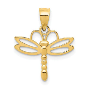 14k Yellow Gold Polished Dragonfly Pendant, 15mm - The Black Bow Jewelry Co.