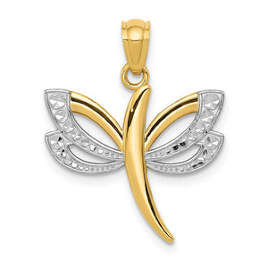 14k Yellow Gold and White Rhodium Two Tone Dragonfly Pendant, 18mm - The Black Bow Jewelry Co.