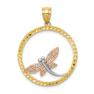 14k Yellow & Rose Gold with White Rhodium 24mm Dragonfly Pendant - The Black Bow Jewelry Co.