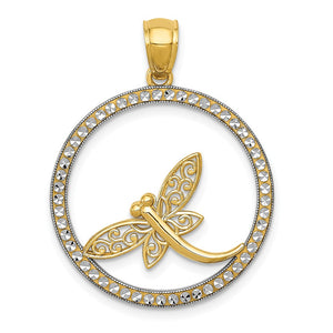 14k Yellow Gold and White Rhodium Round Dragonfly Pendant, 23mm - The Black Bow Jewelry Co.