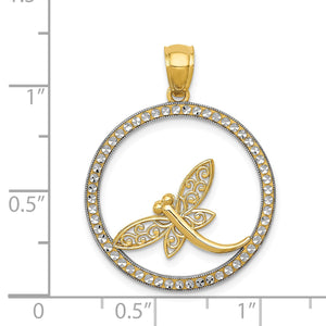 Alternate view of the 14k Yellow Gold and White Rhodium Round Dragonfly Pendant, 23mm by The Black Bow Jewelry Co.