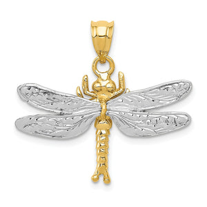 14k Two Tone Gold 28mm Textured Dragonfly Pendant - The Black Bow Jewelry Co.