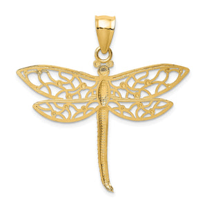 Alternate view of the 14k Yellow Gold Extra Large Diamond Cut Filigree Dragonfly Pendant by The Black Bow Jewelry Co.