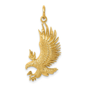 14k Yellow Gold 2D American Bald Eagle Pendant - The Black Bow Jewelry Co.
