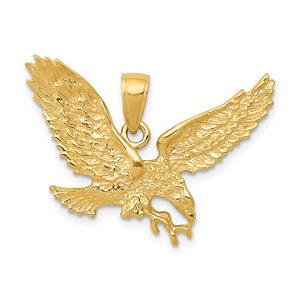 14k Yellow Gold 2D Textured Eagle Pendant - The Black Bow Jewelry Co.