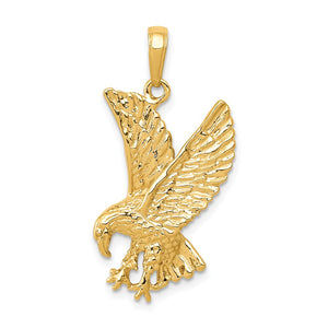 14k Yellow Gold 2D Eagle Pendant - The Black Bow Jewelry Co.
