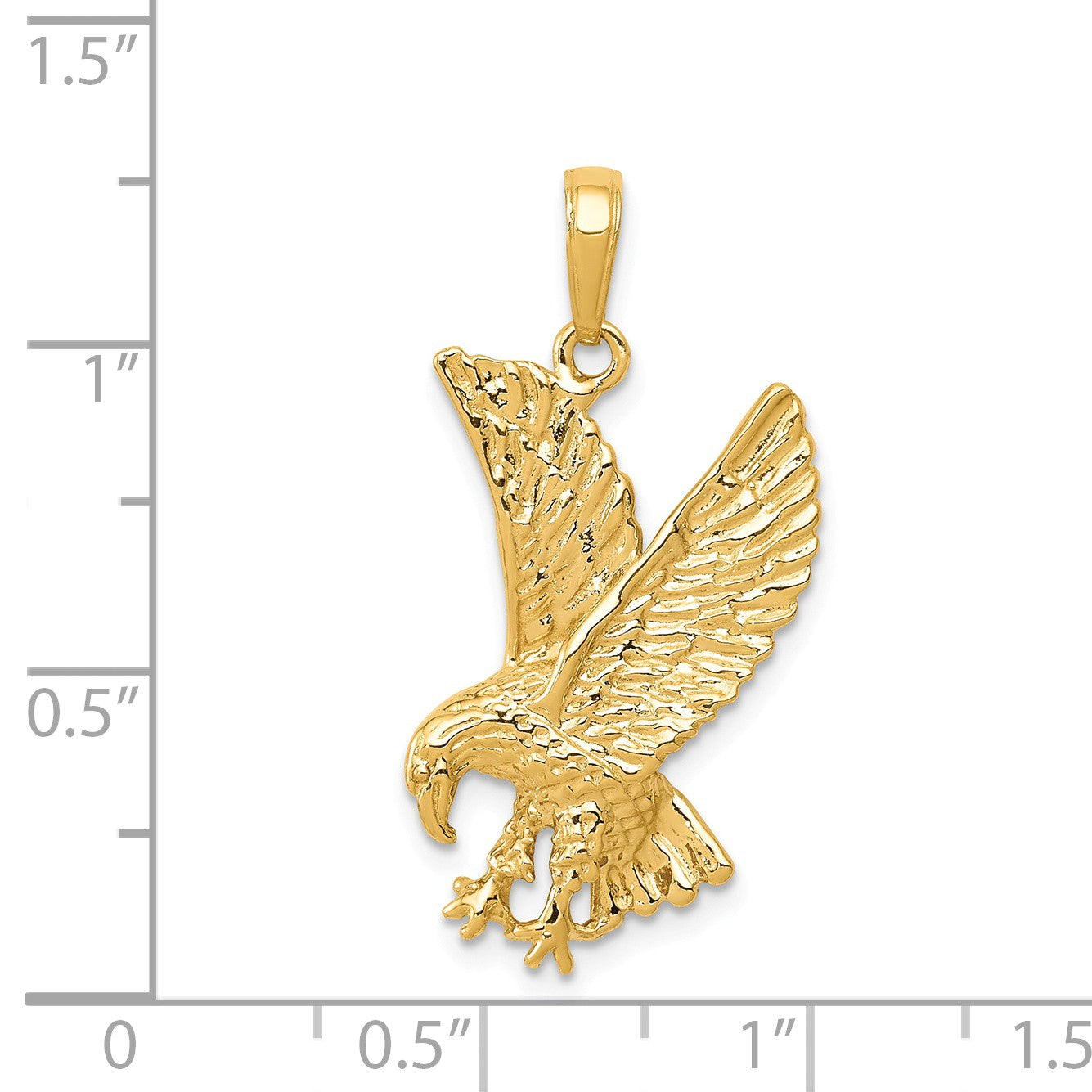 Black Bow Jewelry 14k Yellow Gold 2D Textured Eagle Pendant