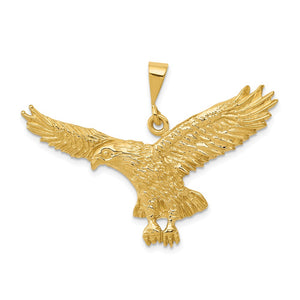14k Yellow Gold Large 2D Eagle Pendant - The Black Bow Jewelry Co.