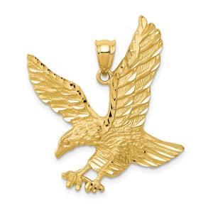 14k Yellow Gold Satin and Diamond Cut Eagle Pendant, 25mm - The Black Bow Jewelry Co.