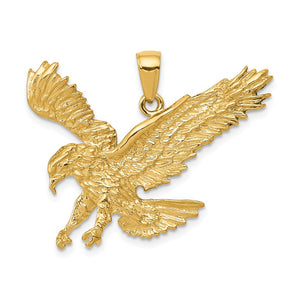 14k Yellow Gold Textured Landing Eagle Pendant - The Black Bow Jewelry Co.