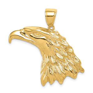 14k Yellow Gold Extra Large Polished Eagle Head Pendant - The Black Bow Jewelry Co.