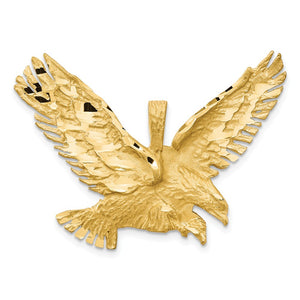 14k Yellow Gold Large 2D Textured Eagle Pendant - The Black Bow Jewelry Co.