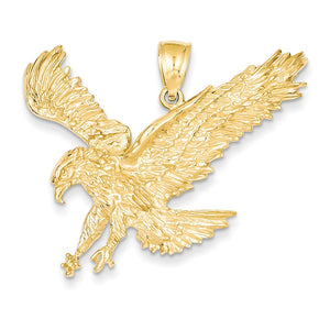 14k Yellow Gold Large 2D Landing Eagle Pendant - The Black Bow Jewelry Co.