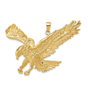 14k Yellow Gold Extra Large 2D Landing Eagle Pendant - The Black Bow Jewelry Co.