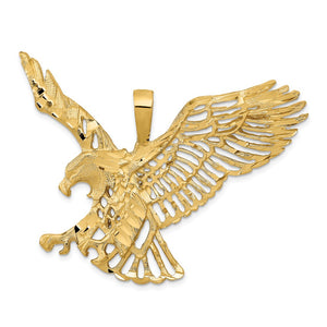 14k Yellow Gold Extra Large Cutout Eagle Pendant - The Black Bow Jewelry Co.