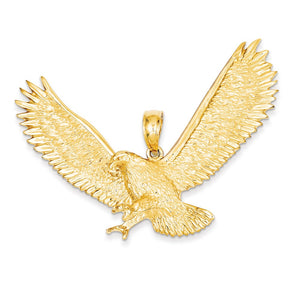 14k Yellow Gold Extra Large 2D Textured Eagle Pendant - The Black Bow Jewelry Co.