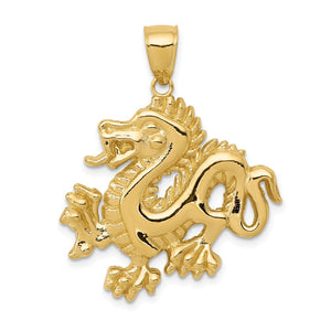 14k Yellow Gold 2D Dragon Pendant, 25mm - The Black Bow Jewelry Co.