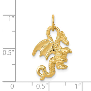 Alternate view of the 14k Yellow Gold Small 3D Winged Dragon Charm by The Black Bow Jewelry Co.