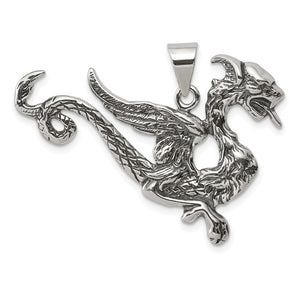 Sterling Silver Large 37mm Antiqued Dragon Pendant - The Black Bow Jewelry Co.