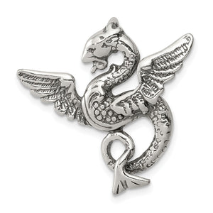 Sterling Silver 26mm Antiqued Dragon Slide Pendant - The Black Bow Jewelry Co.
