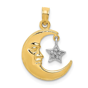 14k Yellow and White Gold Moon Face and Dangling Star Pendant - The Black Bow Jewelry Co.