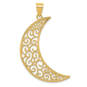 14k Yellow Gold Extra Large Filigree Crescent Moon Pendant - The Black Bow Jewelry Co.
