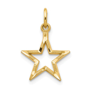 14k Yellow Gold 13mm Diamond Cut Open Star Pendant - The Black Bow Jewelry Co.