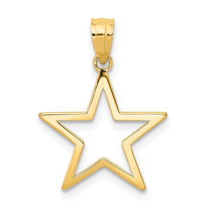 14k Yellow Gold 15mm Polished Cutout Star Pendant - The Black Bow Jewelry Co.