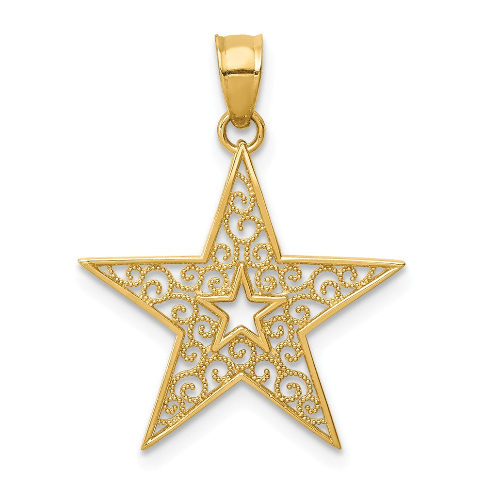 14k Yellow Gold 18mm Filigree Star Pendant, Item P11910 by The Black Bow Jewelry Co.