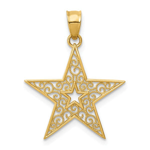 14k Yellow Gold 18mm Filigree Star Pendant - The Black Bow Jewelry Co.