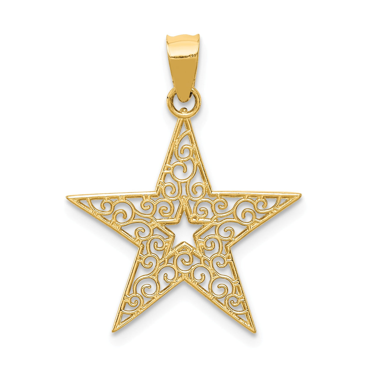 Alternate view of the 14k Yellow Gold 18mm Filigree Star Pendant by The Black Bow Jewelry Co.