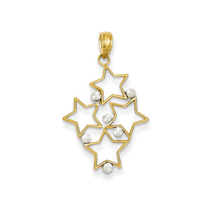 14k Yellow Gold and White Rhodium Two Tone Star Cluster Pendant - The Black Bow Jewelry Co.