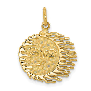 14k Yellow Gold 17mm Flaming Sun Pendant - The Black Bow Jewelry Co.